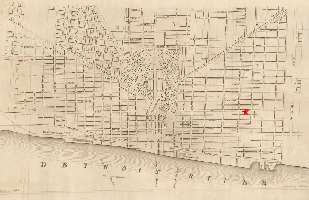 Street map of Detroit in 1850.