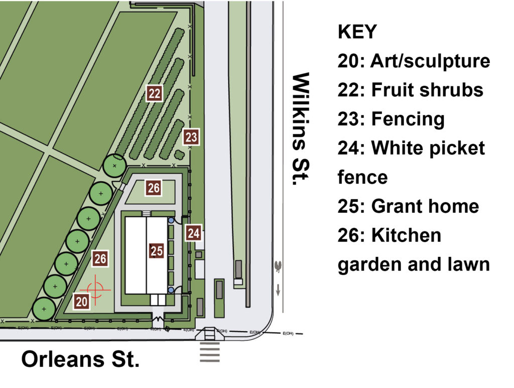 Top-down drawing of the Grant home, located on a street corner, surrounded by gardens.